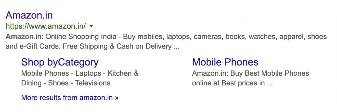 Meta description of Amazon